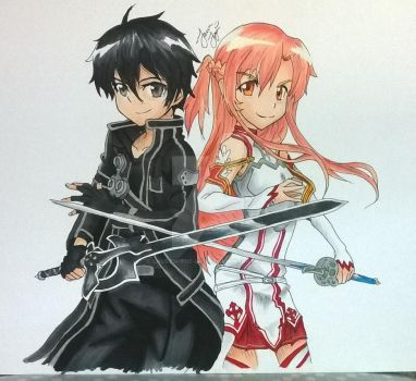 SAO Kirito and Asuna by Lauren-the-Lyon