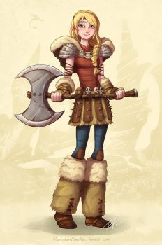 Astrid and her AXE by Jeff-Mahadi