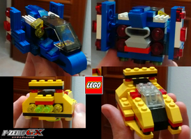 LEGO Blue Falcon and Golden Fox FZero by DSenderM
