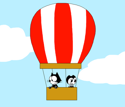 Felix and Bendy on Hot air balloon by MarcosPower1996