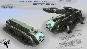 Mobile Rail Artillery by Cyber--Hawk
