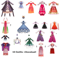MMD Montecore Touhou Clothes Pack DL by SoloBaka