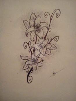 Lillies Tattoo Design by tksb1981