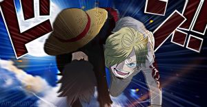 One Piece 898 Sanji Luffy Back Sunny Go Colors  by Amanomoon