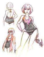 Batwoman Swim Suit Sketches by msciuto