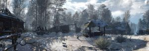 The Witcher 3 panorama  winter village by Scratcherpen