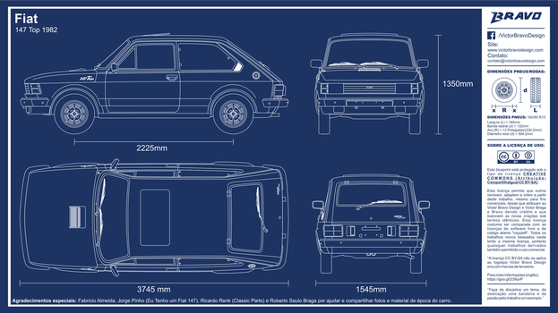 Blueprint Fiat 147 Top 1982 by VictorBravoDesign