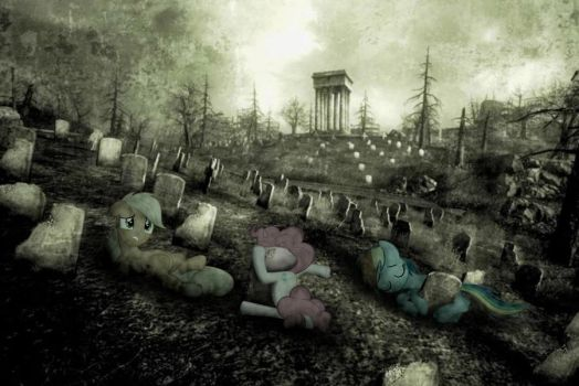 woke up in a graveyard next to pinkie pie... by MetaDragonArt
