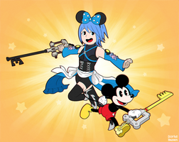 Mickey and his pal, Aqua! by StarletHeaven
