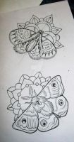Traditional Moth tattoo designs by thirteen7s