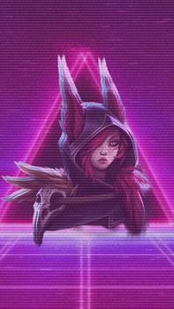 Xayah vaporwave iphone wallpaper. by Minty-Paws