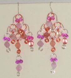 Chandelier earrings, pink by Catgoyle