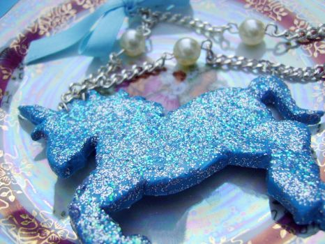 Blue Unicorn Necklace by OrdinaryThing