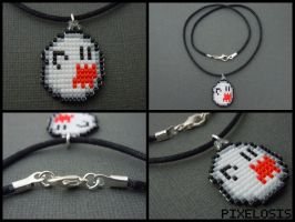 Handmade Seed Bead Boo Necklace by Pixelosis