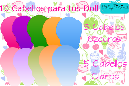 Pack De 10 Cabellos Para Doll by DaisyTinista
