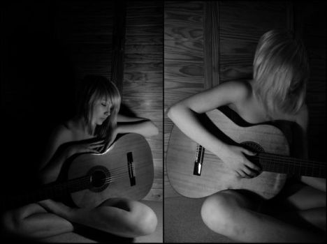 Playing guitar by searchanangel