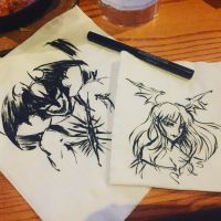 Eyeliner Napkin Doodles - Devilman and Morrigan by SketchMeNot-Art