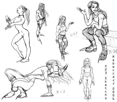 X-23 Sketches by purplerebecca