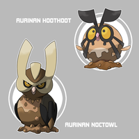 Aurinan Hoothoot and Noctowl by Marix20