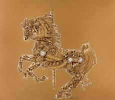 Clockwork carousel horse by Hbruton
