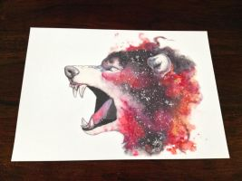 GALAXY SPACE WOLF - PRINT **SOLD** by psychosisblazee