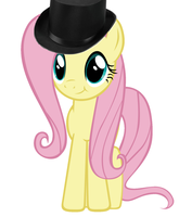 Fluttershy wearing a tophat by GodzillaPrime01