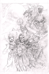 Skelator and Snake Mountain pencils pinup by Renzo1991