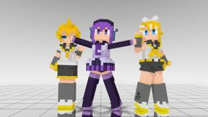 DotPic Rin, Len and Defoko MMD download by Reon046