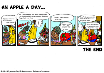 The Yellow Banana comic: An Apple A Day...(2017) by RobmanCartoons