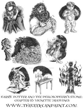 Harry Potter: Book 1 Chapter 16 Vignette Drawings by TheGeekCanPaint