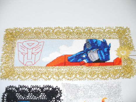 Cross Stitch Bookmark - Optimus Prime by nkfloofiepoof
