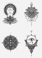 tattoos: Buddha, Lotos, Mandala, Horus Eye by iDaisan