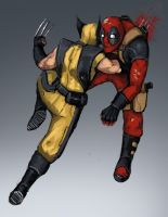 Deadpool vs Wolverine by FonteArt