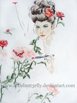 Painting the roses - progress by littlebutt3rfly