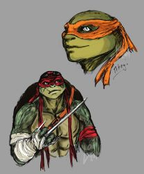 Sketch: Mikey and Raph by Laitiel