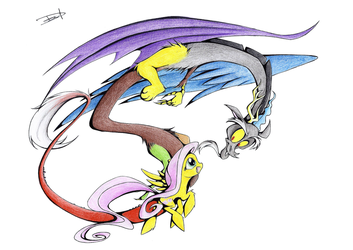 Discord and Fluttershy by QuynzeL