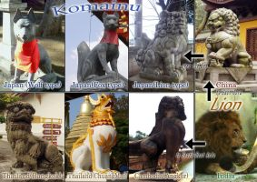 Komainu and Lion statures by SheltieWolf