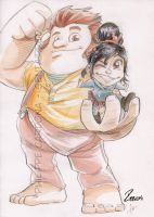 Watercolor Commission Wreck it Ralph and Vanellope by dekarogue
