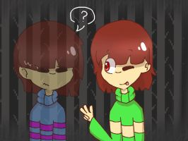 underswap Frisk and Chara [ART TRADE] by synnibear03