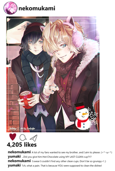 HAPPY WINTER/HOLIDAYS!! ft. Azusa and Kou by Loohcifer