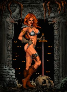 Red Sonja and Temple color by jonrosscomics