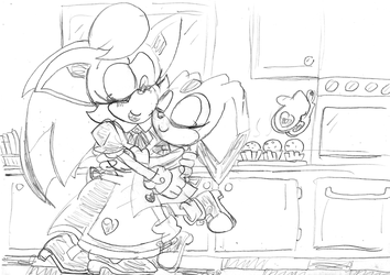 Sapphire and Cream hug cooking by ClassicSonicSatAm