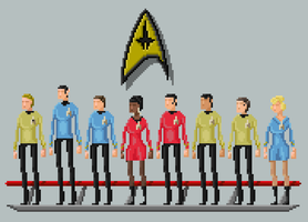 Star Trek: The Original Series - Pixelart crew by Adam-Grant