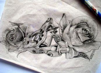 tattoo machine with roses by arty147