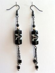 Black and white earrings by Snow-Chen