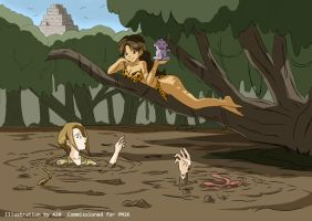 Jungle Girl stares at Explorers in Quicksand by A-020