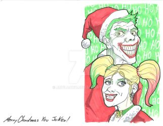 2018 Holiday Cards - Joker and Harley by artildawn