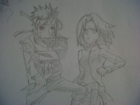 Naruto and Sakura for Guille by ChibiMitsu