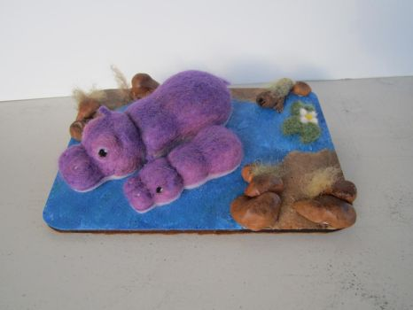 Needlefelted Hippo Family by QuantumMirage