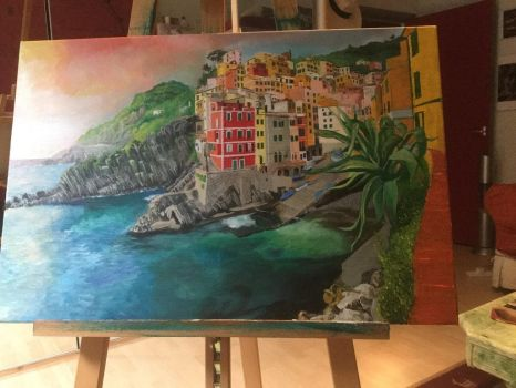 Landscape painting of Italian coastal town by messedupmaids